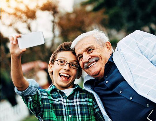 Teen Selfie with Grandpa